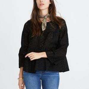 NWT Madewell Tiered Button Black Eyelet top XS
